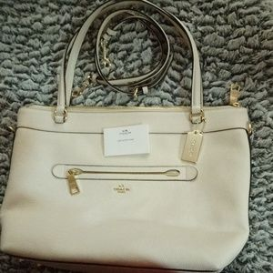 Authentic leather Large off white coach tote bag
